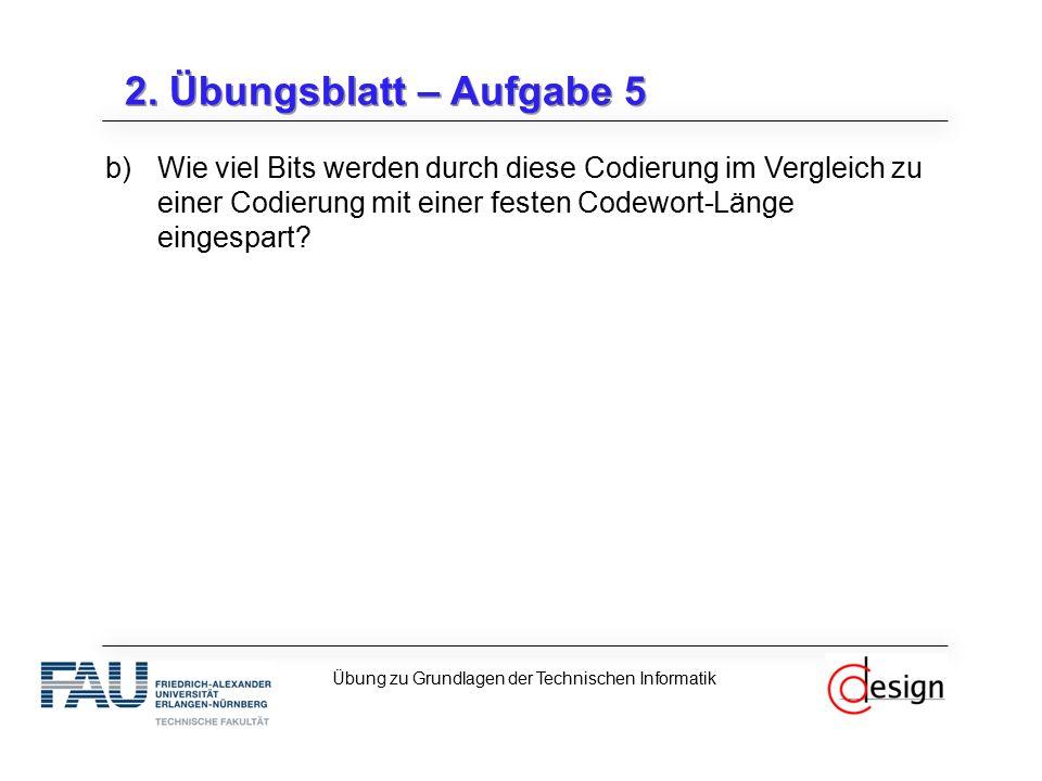 2. Übungsblatt – Aufgabe 5 b)Wie viel Bits werden durch diese Codierung im Vergleich zu einer Codierung mit einer festen Codewort-Länge eingespart? Üb