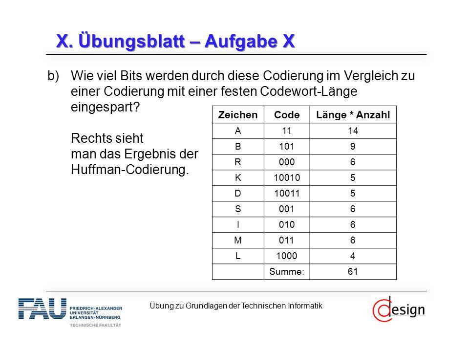 X. Übungsblatt – Aufgabe X b)Wie viel Bits werden durch diese Codierung im Vergleich zu einer Codierung mit einer festen Codewort-Länge eingespart? Re
