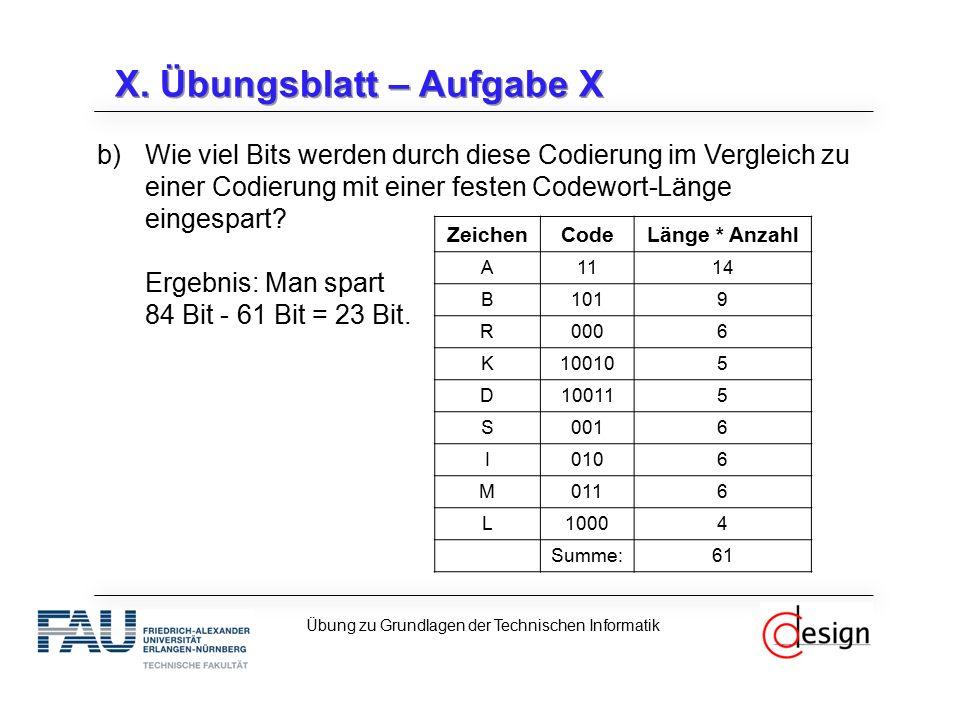 X. Übungsblatt – Aufgabe X b)Wie viel Bits werden durch diese Codierung im Vergleich zu einer Codierung mit einer festen Codewort-Länge eingespart? Er