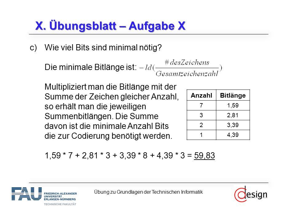c)Wie viel Bits sind minimal nötig? Die minimale Bitlänge ist: Multipliziert man die Bitlänge mit der Summe der Zeichen gleicher Anzahl, so erhält man
