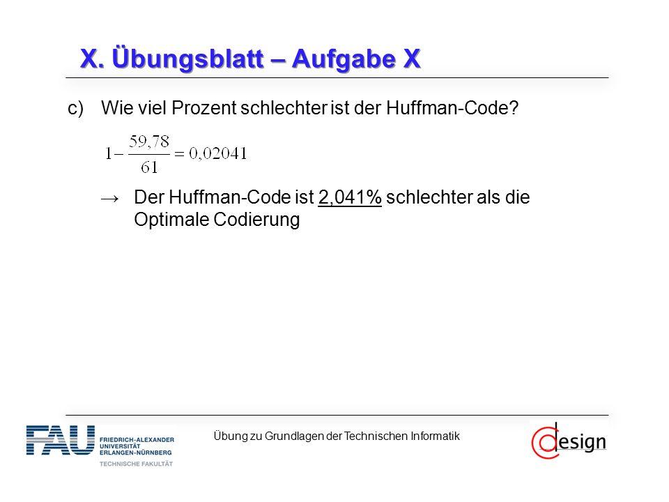 X. Übungsblatt – Aufgabe X c)Wie viel Prozent schlechter ist der Huffman-Code? →Der Huffman-Code ist 2,041% schlechter als die Optimale Codierung Übun
