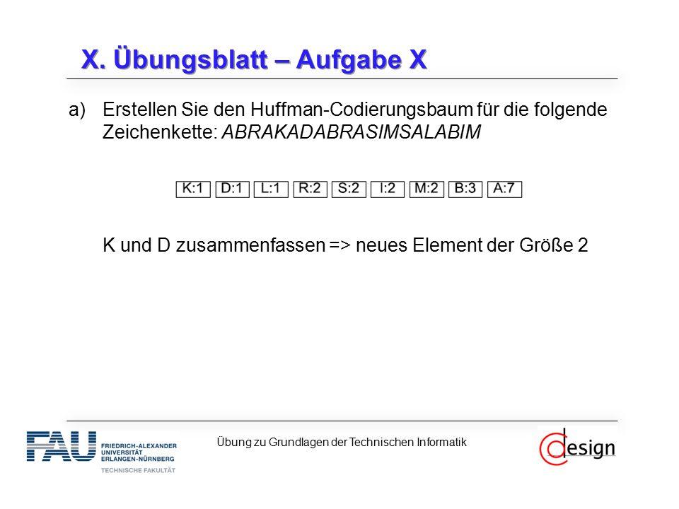 a)Erstellen Sie den Huffman-Codierungsbaum für die folgende Zeichenkette: ABRAKADABRASIMSALABIM K und D zusammenfassen => neues Element der Größe 2 X.