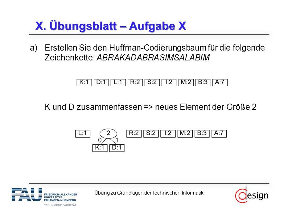 X.Übungsblatt – Aufgabe X c)Wie viel Prozent schlechter ist der Huffman-Code.