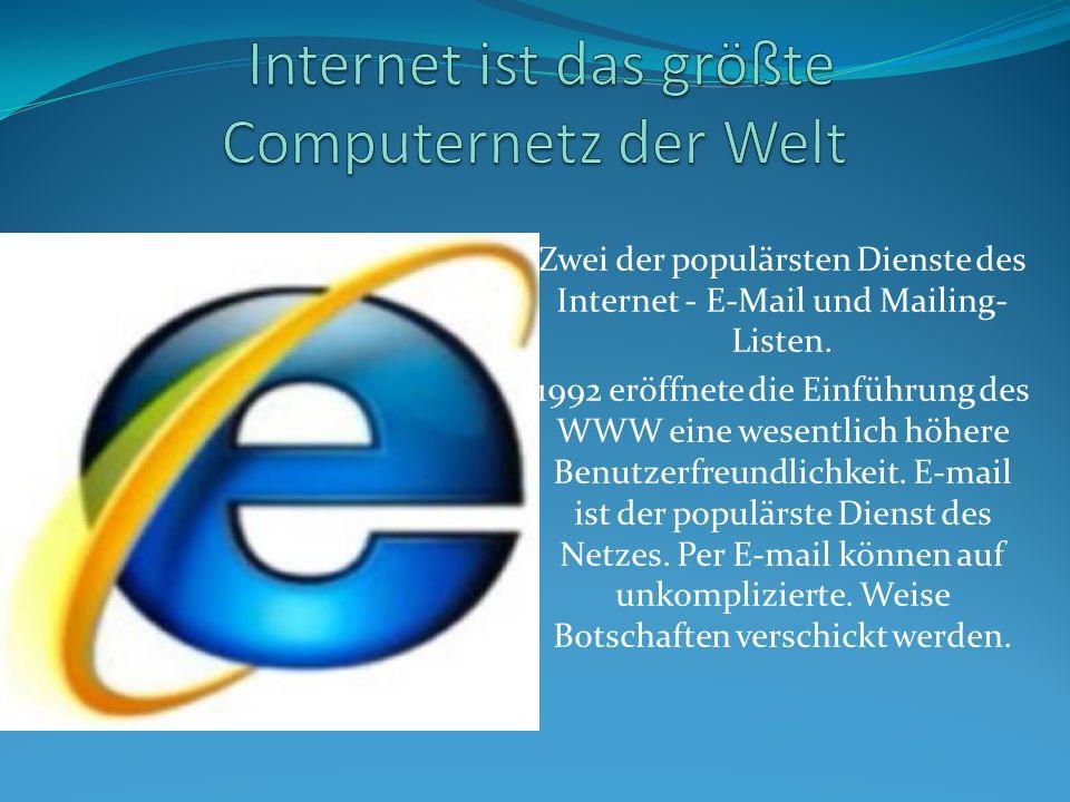 Zwei der populärsten Dienste des Internet - E-Mail und Mailing- Listen. 1992 eröffnete die Einführung des WWW eine wesentlich höhere Benutzerfreundlic