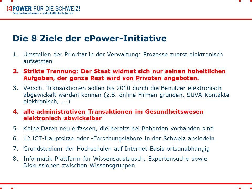Die 8 Ziele der ePower-Initiative 1.Umstellen der Priorität in der Verwaltung: Prozesse zuerst elektronisch aufsetzten 2.Strikte Trennung: Der Staat widmet sich nur seinen hoheitlichen Aufgaben, der ganze Rest wird von Privaten angeboten.
