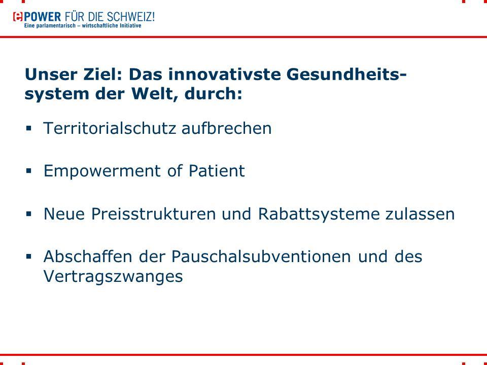 Unser Ziel: Das innovativste Gesundheits- system der Welt, durch:  Territorialschutz aufbrechen  Empowerment of Patient  Neue Preisstrukturen und Rabattsysteme zulassen  Abschaffen der Pauschalsubventionen und des Vertragszwanges