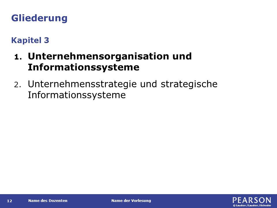 © Laudon /Laudon /Schoder Name des DozentenName der Vorlesung Gliederung 12 1. Unternehmensorganisation und Informationssysteme 2. Unternehmensstrateg