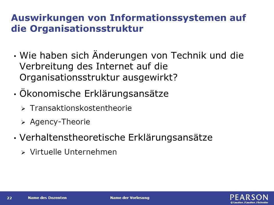 © Laudon /Laudon /Schoder Name des DozentenName der Vorlesung Auswirkungen von Informationssystemen auf die Organisationsstruktur 22 Wie haben sich Änderungen von Technik und die Verbreitung des Internet auf die Organisationsstruktur ausgewirkt.