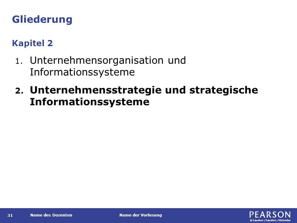 © Laudon /Laudon /Schoder Name des DozentenName der Vorlesung Gliederung 31 1. Unternehmensorganisation und Informationssysteme 2. Unternehmensstrateg