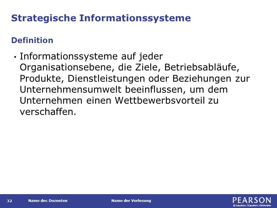 © Laudon /Laudon /Schoder Name des DozentenName der Vorlesung Strategische Informationssysteme 32 Informationssysteme auf jeder Organisationsebene, di