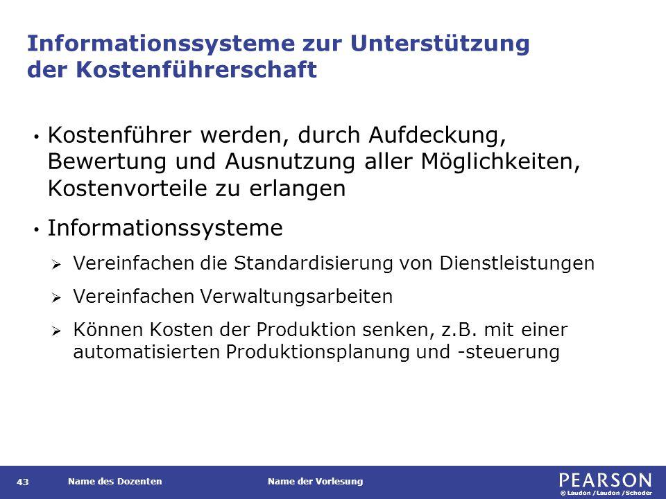 © Laudon /Laudon /Schoder Name des DozentenName der Vorlesung Informationssysteme zur Unterstützung der Kostenführerschaft 43 Kostenführer werden, dur