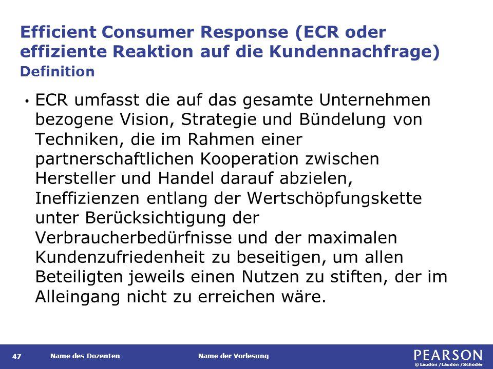 © Laudon /Laudon /Schoder Name des DozentenName der Vorlesung Efficient Consumer Response (ECR oder effiziente Reaktion auf die Kundennachfrage) 47 ECR umfasst die auf das gesamte Unternehmen bezogene Vision, Strategie und Bündelung von Techniken, die im Rahmen einer partnerschaftlichen Kooperation zwischen Hersteller und Handel darauf abzielen, Ineffizienzen entlang der Wertschöpfungskette unter Berücksichtigung der Verbraucherbedürfnisse und der maximalen Kundenzufriedenheit zu beseitigen, um allen Beteiligten jeweils einen Nutzen zu stiften, der im Alleingang nicht zu erreichen wäre.