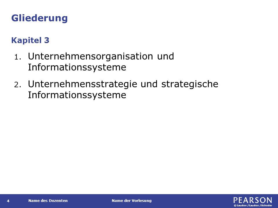 © Laudon /Laudon /Schoder Name des DozentenName der Vorlesung Gliederung 4 1. Unternehmensorganisation und Informationssysteme 2. Unternehmensstrategi