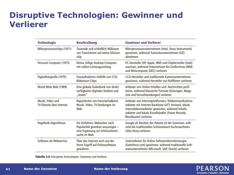 © Laudon /Laudon /Schoder Name des DozentenName der Vorlesung Disruptive Technologien: Gewinner und Verlierer 61