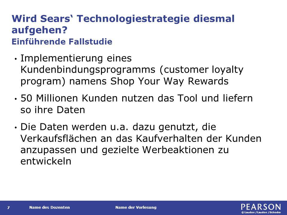 © Laudon /Laudon /Schoder Name des DozentenName der Vorlesung Wird Sears' Technologiestrategie diesmal aufgehen? 7 Implementierung eines Kundenbindung