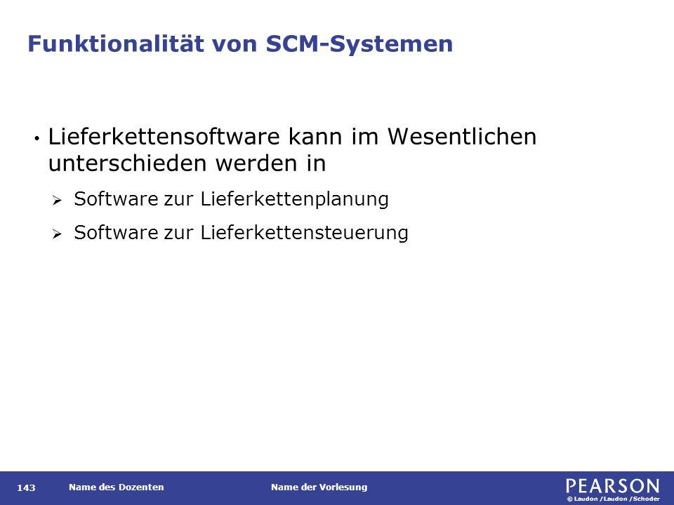 © Laudon /Laudon /Schoder Name des DozentenName der Vorlesung Funktionalität von SCM-Systemen 143 Lieferkettensoftware kann im Wesentlichen unterschie
