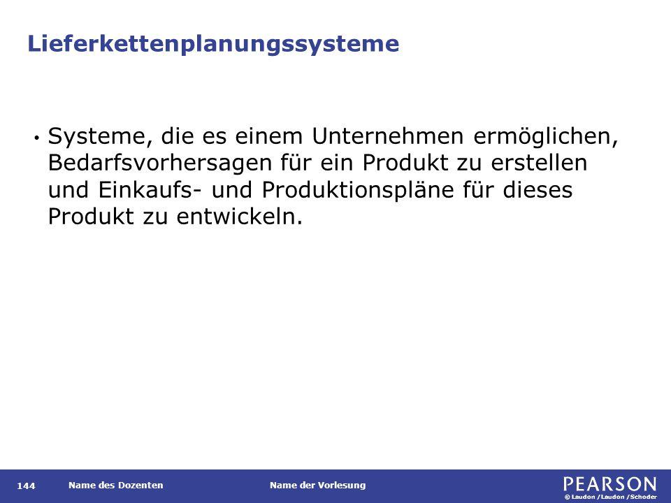 © Laudon /Laudon /Schoder Name des DozentenName der Vorlesung Lieferkettenplanungssysteme 144 Systeme, die es einem Unternehmen ermöglichen, Bedarfsvo