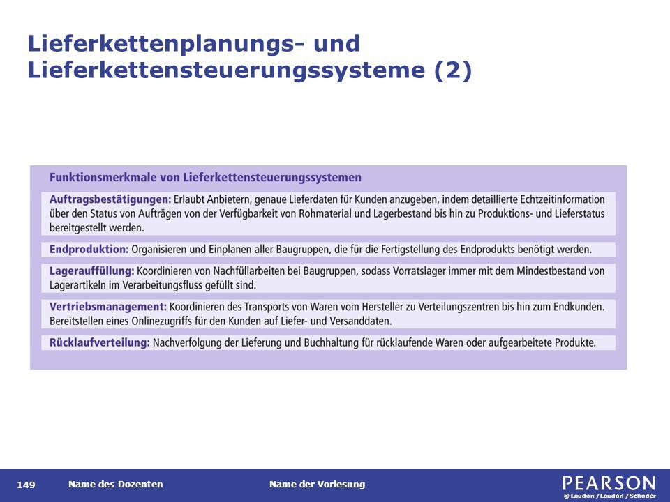 © Laudon /Laudon /Schoder Name des DozentenName der Vorlesung Lieferkettenplanungs- und Lieferkettensteuerungssysteme (2) 149