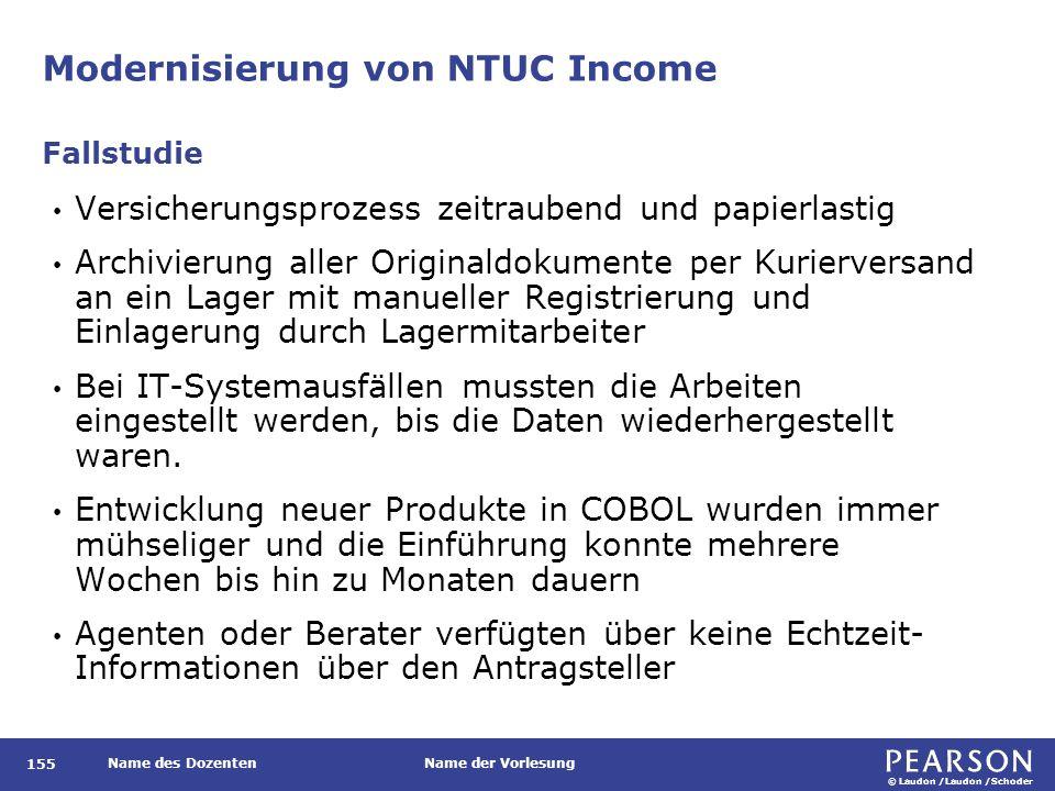 © Laudon /Laudon /Schoder Name des DozentenName der Vorlesung Modernisierung von NTUC Income 155 Versicherungsprozess zeitraubend und papierlastig Arc