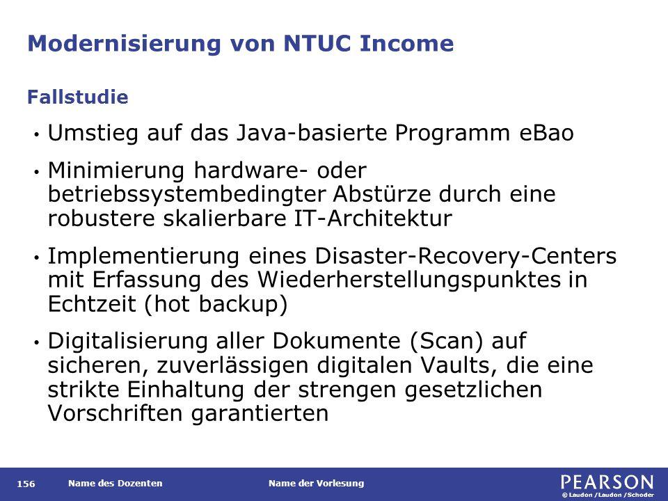© Laudon /Laudon /Schoder Name des DozentenName der Vorlesung Modernisierung von NTUC Income 156 Umstieg auf das Java-basierte Programm eBao Minimieru