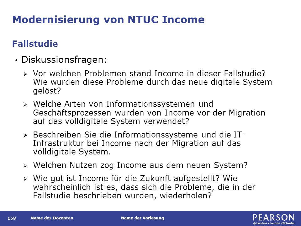 © Laudon /Laudon /Schoder Name des DozentenName der Vorlesung Modernisierung von NTUC Income 158 Diskussionsfragen:  Vor welchen Problemen stand Inco
