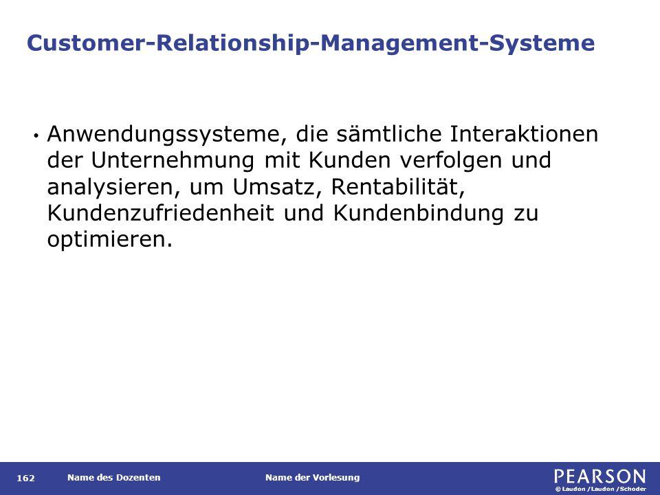 © Laudon /Laudon /Schoder Name des DozentenName der Vorlesung Customer-Relationship-Management-Systeme 162 Anwendungssysteme, die sämtliche Interaktio