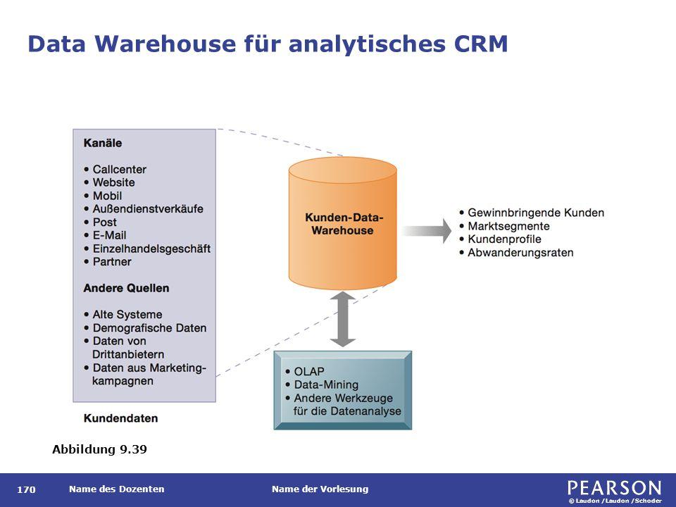 © Laudon /Laudon /Schoder Name des DozentenName der Vorlesung Data Warehouse für analytisches CRM 170 Abbildung 9.39