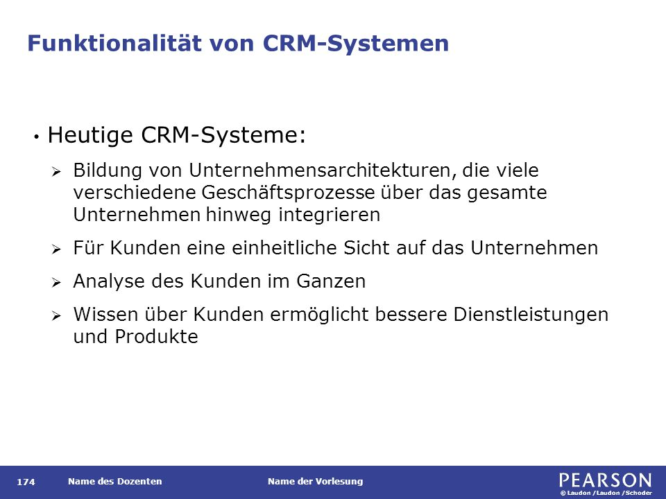 © Laudon /Laudon /Schoder Name des DozentenName der Vorlesung Funktionalität von CRM-Systemen 174 Heutige CRM-Systeme:  Bildung von Unternehmensarchi