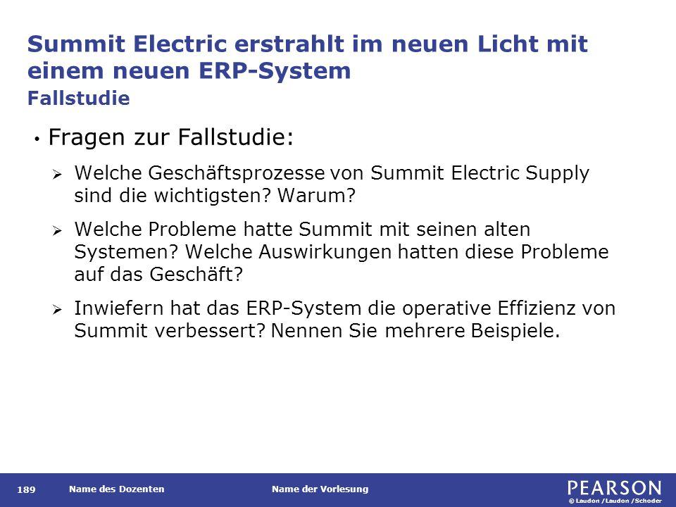 © Laudon /Laudon /Schoder Name des DozentenName der Vorlesung Summit Electric erstrahlt im neuen Licht mit einem neuen ERP-System 189 Fragen zur Falls