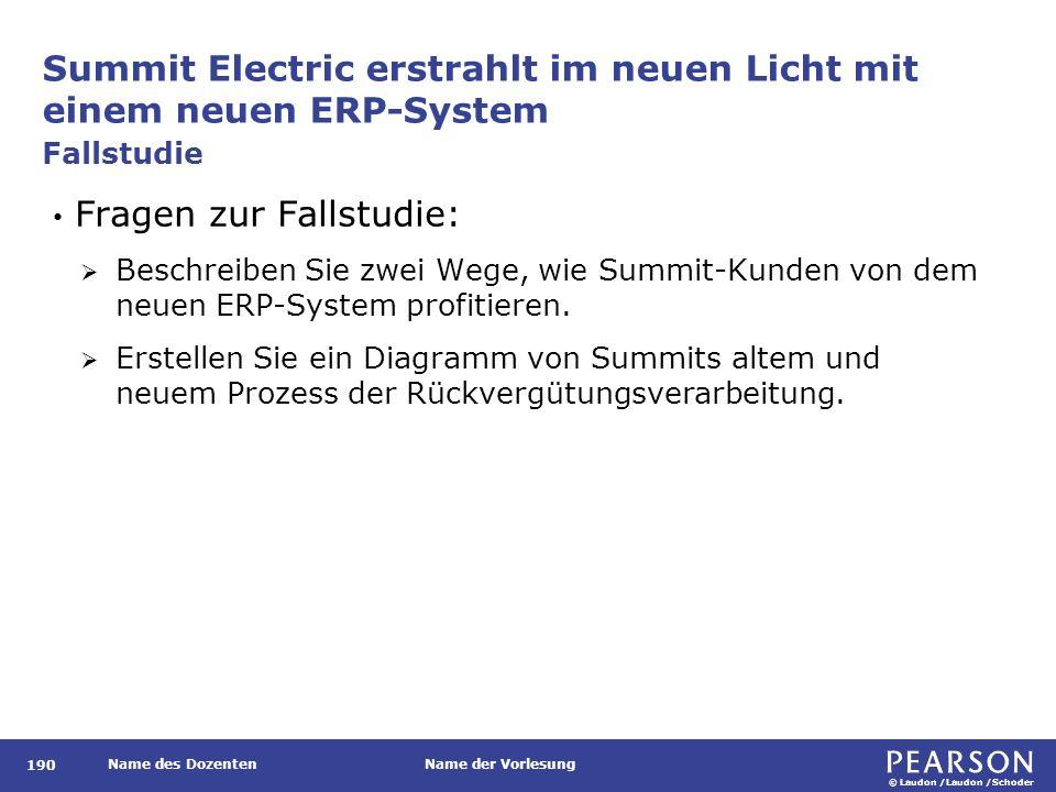 © Laudon /Laudon /Schoder Name des DozentenName der Vorlesung Summit Electric erstrahlt im neuen Licht mit einem neuen ERP-System 190 Fragen zur Falls