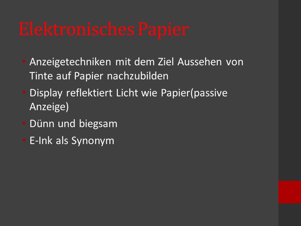 Elektronisches Papier Anzeigetechniken mit dem Ziel Aussehen von Tinte auf Papier nachzubilden Display reflektiert Licht wie Papier(passive Anzeige) D