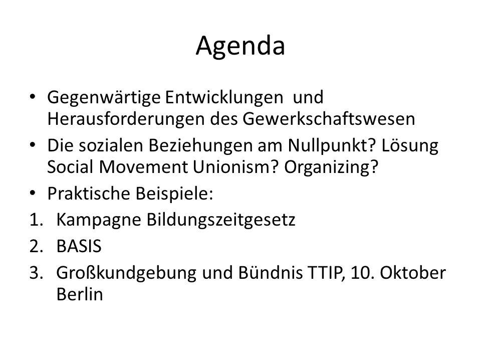 Agenda Gegenwärtige Entwicklungen und Herausforderungen des Gewerkschaftswesen Die sozialen Beziehungen am Nullpunkt.