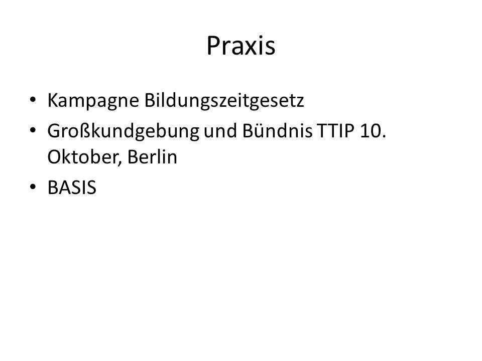 Praxis Kampagne Bildungszeitgesetz Großkundgebung und Bündnis TTIP 10. Oktober, Berlin BASIS