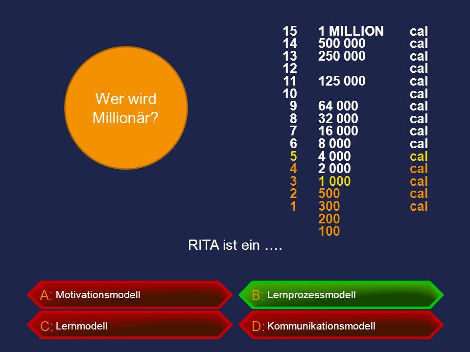 Wer wird Millionär? A:B: C:D: RITA ist ein …. MotivationsmodellLernprozessmodell LernmodellKommunikationsmodell 1 MILLION 500 000 250 000 125 000 64 0