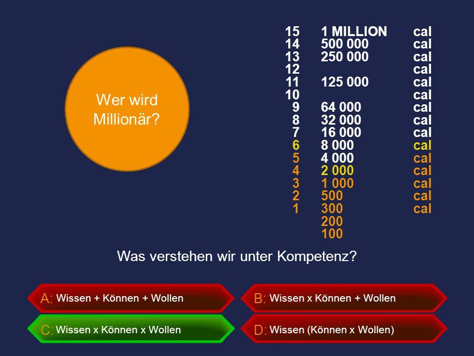 Wer wird Millionär? A:B: C:D: Was verstehen wir unter Kompetenz? Wissen + Können + Wollen Wissen x Können x Wollen Wissen x Können + Wollen Wissen (Kö