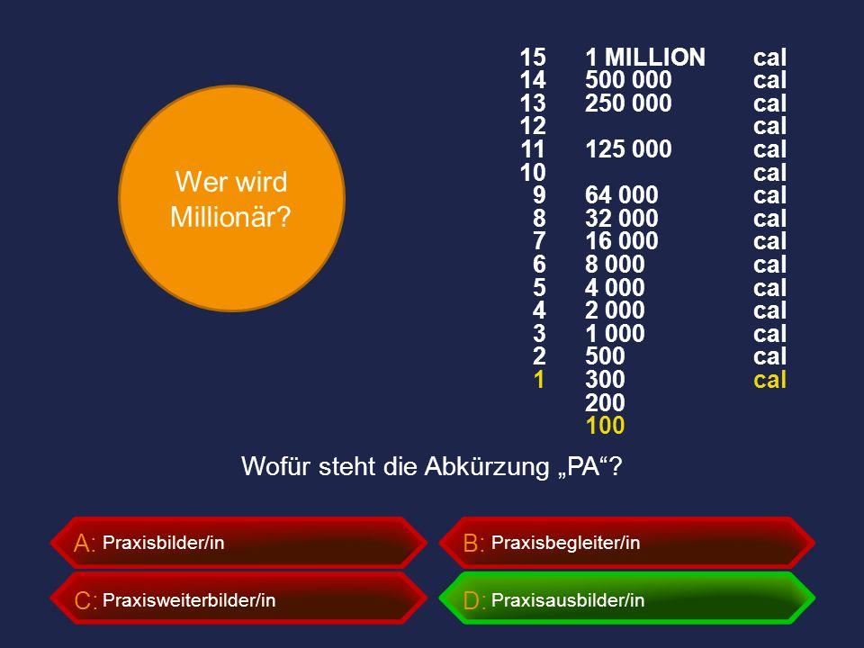 """Wer wird Millionär? A:B: C:D: Wofür steht die Abkürzung """"PA""""? Praxisbilder/inPraxisbegleiter/in Praxisweiterbilder/inPraxisausbilder/in 1 MILLION 500"""
