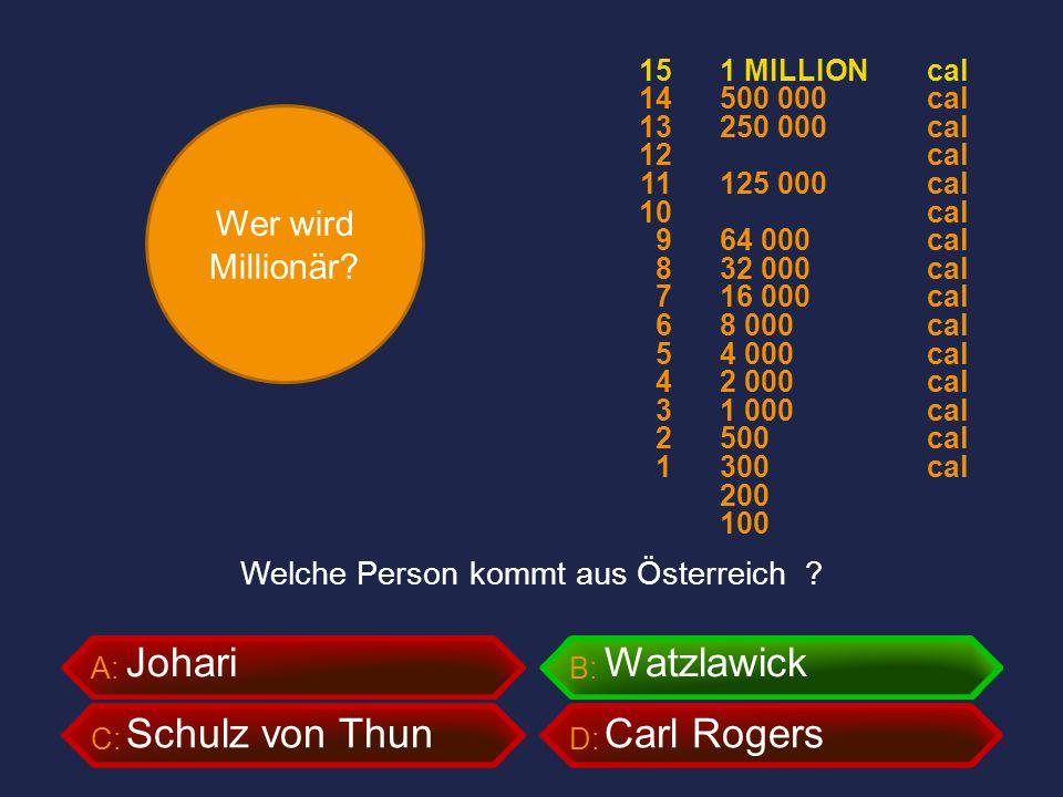 Wer wird Millionär? A:B: C:D: Welche Person kommt aus Österreich ? JohariWatzlawick Schulz von ThunCarl Rogers 1 MILLION 500 000 250 000 125 000 64 00