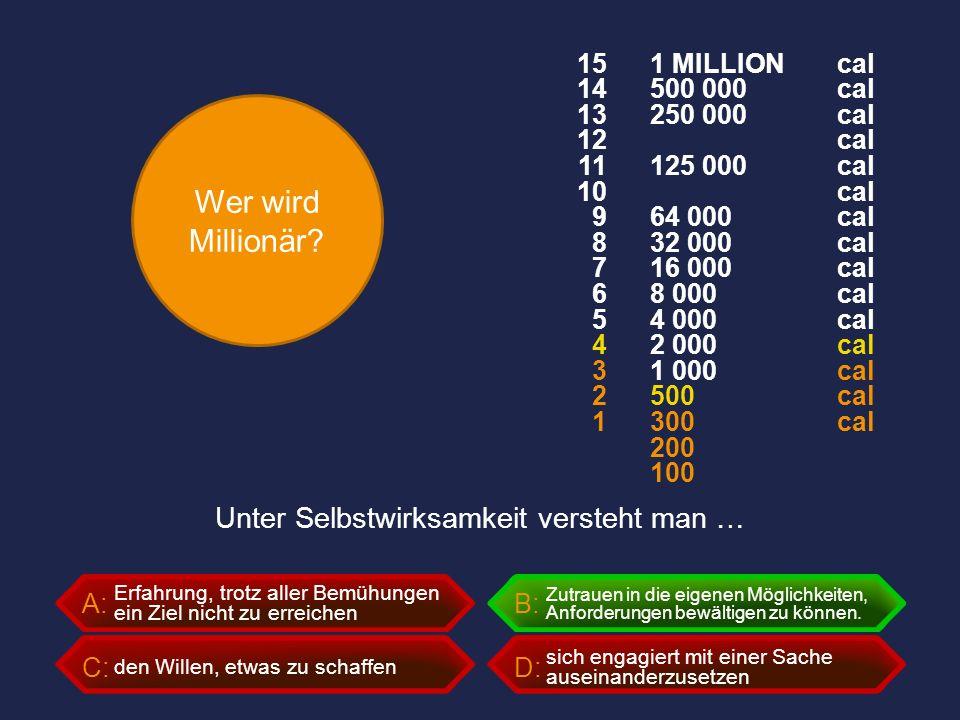 Wer wird Millionär? A:B: C:D: Unter Selbstwirksamkeit versteht man … Erfahrung, trotz aller Bemühungen ein Ziel nicht zu erreichen Zutrauen in die eig