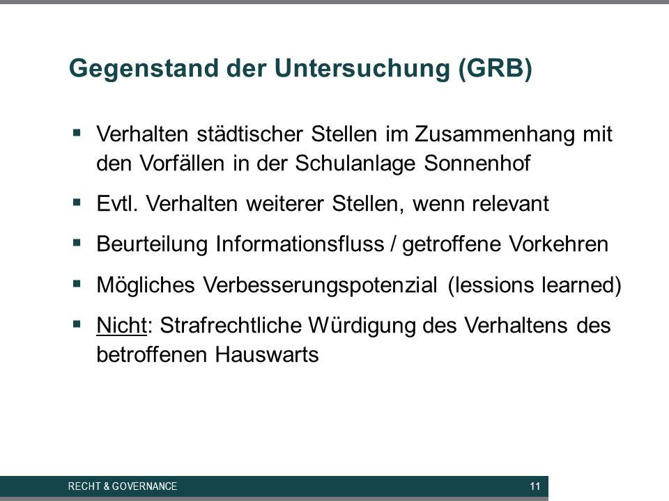 Gegenstand der Untersuchung (GRB)  Verhalten städtischer Stellen im Zusammenhang mit den Vorfällen in der Schulanlage Sonnenhof  Evtl.
