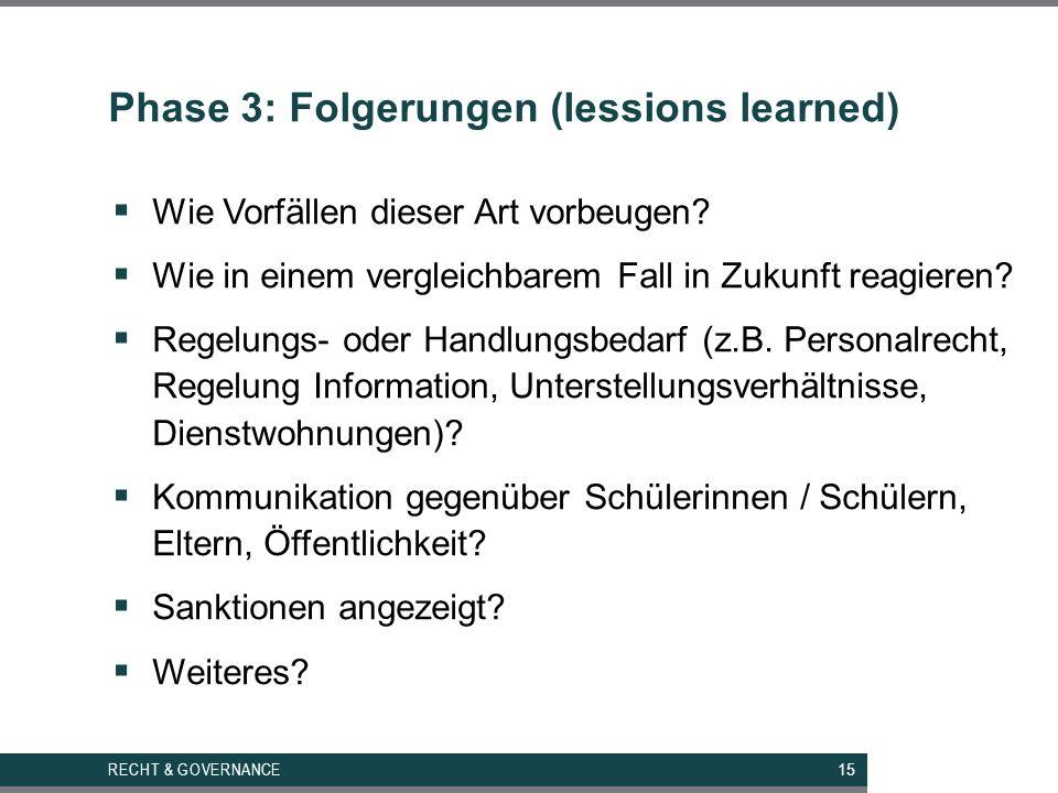 Phase 3: Folgerungen (lessions learned)  Wie Vorfällen dieser Art vorbeugen.