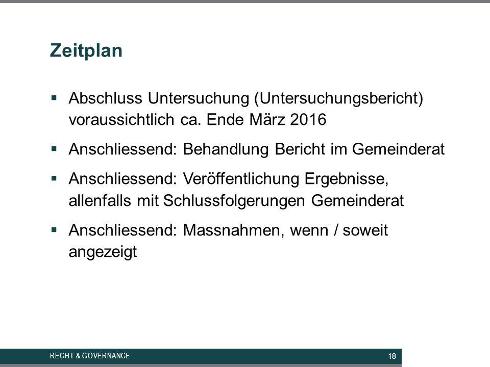 Zeitplan RECHT & GOVERNANCE  Abschluss Untersuchung (Untersuchungsbericht) voraussichtlich ca.