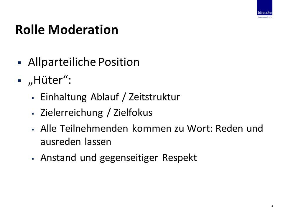 """Rolle Moderation  Allparteiliche Position  """"Hüter :  Einhaltung Ablauf / Zeitstruktur  Zielerreichung / Zielfokus  Alle Teilnehmenden kommen zu Wort: Reden und ausreden lassen  Anstand und gegenseitiger Respekt 4"""
