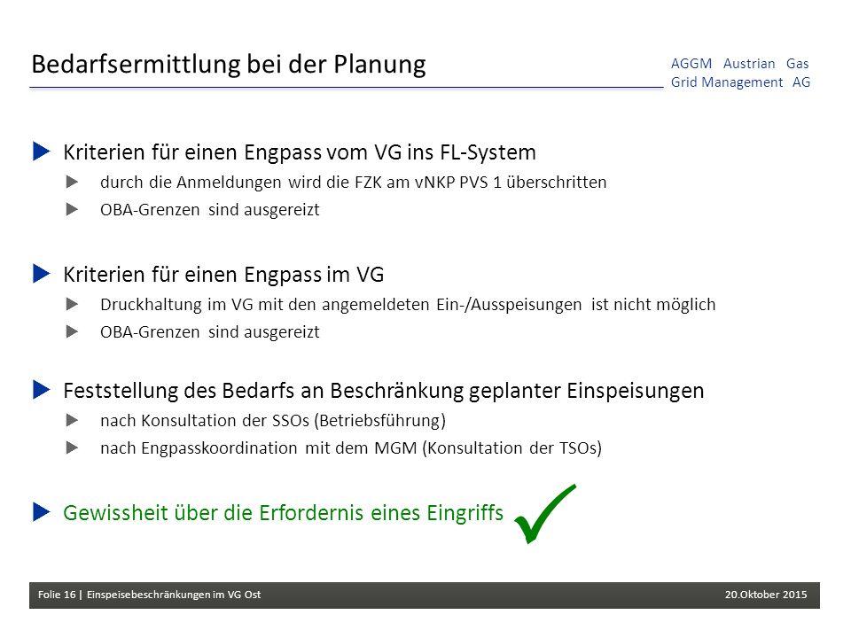 Folie 16 | Einspeisebeschränkungen im VG Ost 20.Oktober 2015 AGGM Austrian Gas Grid Management AG Bedarfsermittlung bei der Planung  Kriterien für einen Engpass vom VG ins FL-System  durch die Anmeldungen wird die FZK am vNKP PVS 1 überschritten  OBA-Grenzen sind ausgereizt  Kriterien für einen Engpass im VG  Druckhaltung im VG mit den angemeldeten Ein-/Ausspeisungen ist nicht möglich  OBA-Grenzen sind ausgereizt  Feststellung des Bedarfs an Beschränkung geplanter Einspeisungen  nach Konsultation der SSOs (Betriebsführung)  nach Engpasskoordination mit dem MGM (Konsultation der TSOs)  Gewissheit über die Erfordernis eines Eingriffs 
