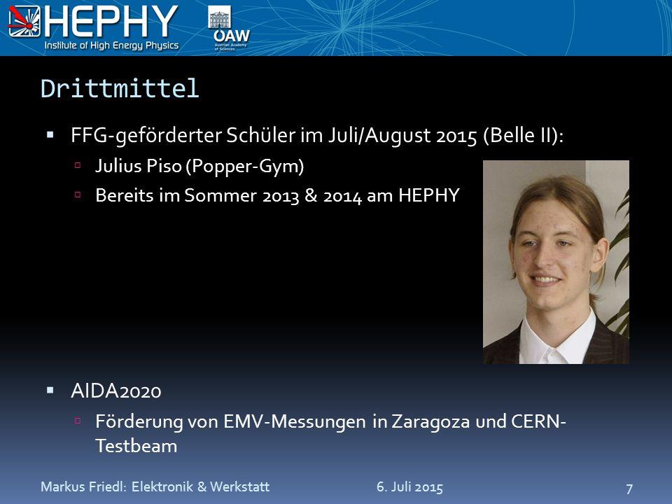 Drittmittel  FFG-geförderter Schüler im Juli/August 2015 (Belle II):  Julius Piso (Popper-Gym)  Bereits im Sommer 2013 & 2014 am HEPHY  AIDA2020  Förderung von EMV-Messungen in Zaragoza und CERN- Testbeam 6.
