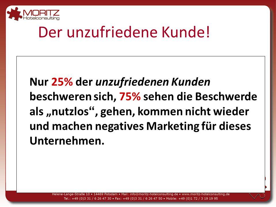 """Nur 25% der unzufriedenen Kunden beschweren sich, 75% sehen die Beschwerde als """"nutzlos , gehen, kommen nicht wieder und machen negatives Marketing für dieses Unternehmen."""