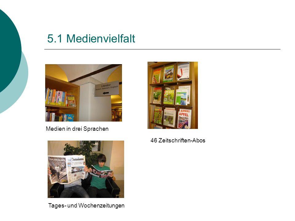 5.1 Medienvielfalt Medien in drei Sprachen 46 Zeitschriften-Abos Tages- und Wochenzeitungen
