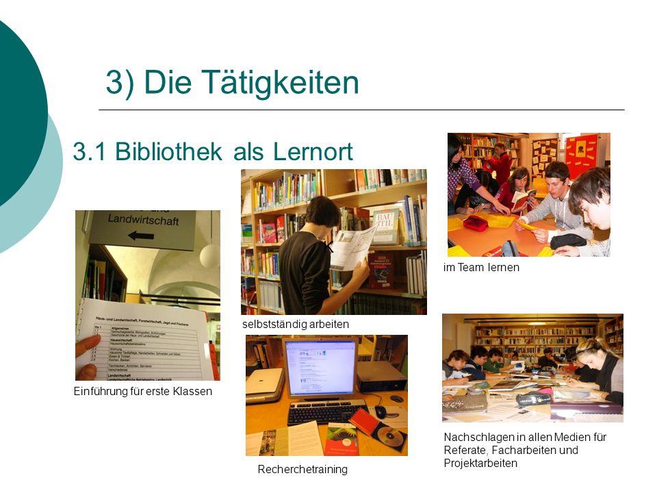 3.1 Bibliothek als Lernort 3) Die Tätigkeiten selbstständig arbeiten Einführung für erste Klassen im Team lernen K Recherchetraining Nachschlagen in a