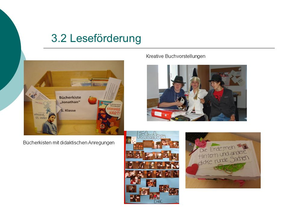 3.2 Leseförderung Bücherkisten mit didaktischen Anregungen Kreative Buchvorstellungen
