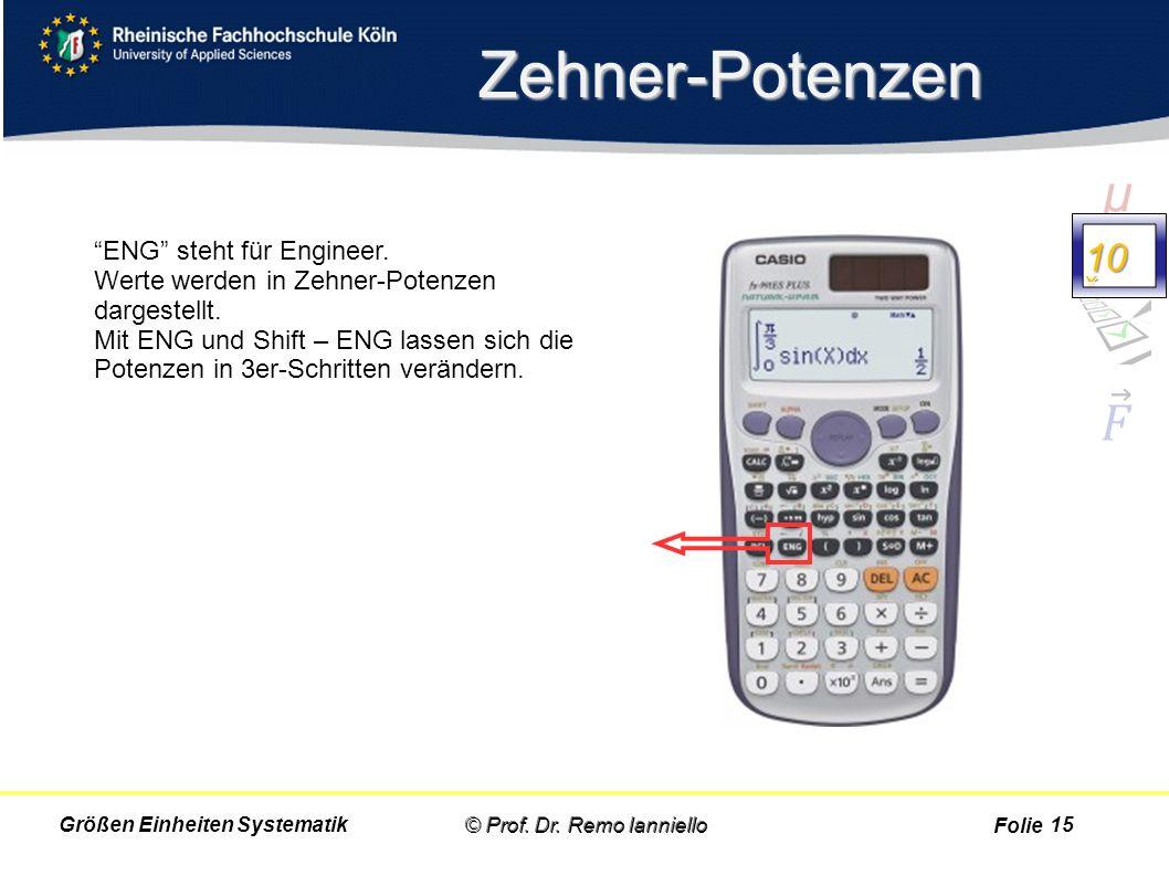 """Folie Zehner-Potenzen © Prof. Dr. Remo IannielloGrößen Einheiten Systematik """"ENG"""" steht für Engineer. Werte werden in Zehner-Potenzen dargestellt. Mit"""