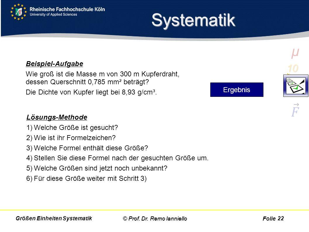 Folie Systematik © Prof. Dr. Remo IannielloGrößen Einheiten Systematik Beispiel-Aufgabe Wie groß ist die Masse m von 300 m Kupferdraht, dessen Quersch